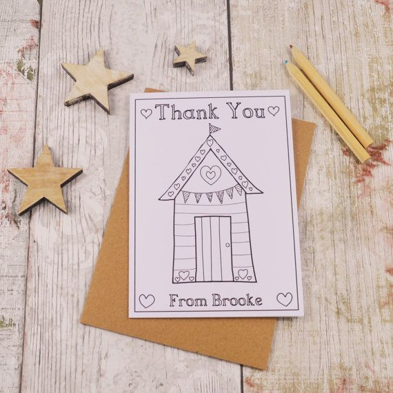 Beach Hut Colouring in Thank You Card Children's by MakeWithMum
