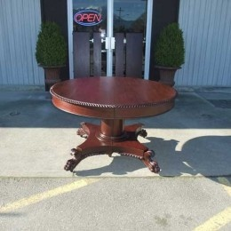 Antique and Vintage Furniture For Sale - Round Mahogany Paw Foot Dining Table