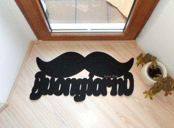 Italian doormat moustache. Floor mat Buongiorno with by Xatara