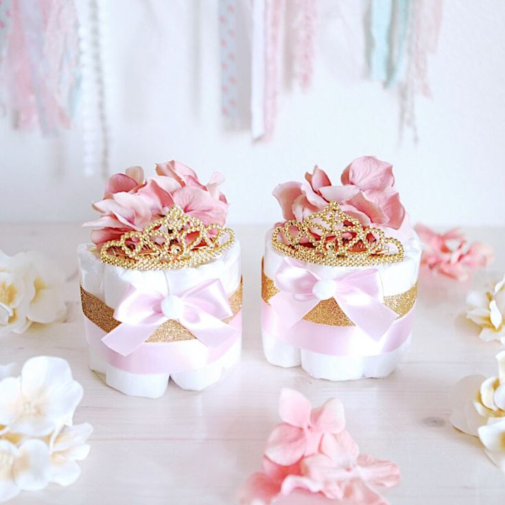 Pink & Gold Princess MINI Diaper Cake / Baby Shower Centerpiece decoration / baby girls room decor / New mom unique gifts / Elegant Tiara by AngAngBabyUS on Etsy
