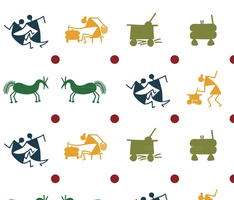 tribal village figures fabric by warliart on Spoonflower - custom fabric