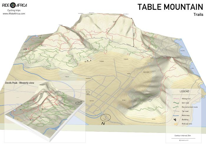 3D map of Table Mountain trails