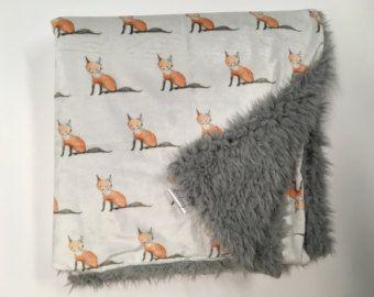 Couverture bébé, couverture bébé Woodland, pépinière renard, renards arbres, cadeau de shower de bébé bois rustique, bébé, literie, literie de bébé renard de renard