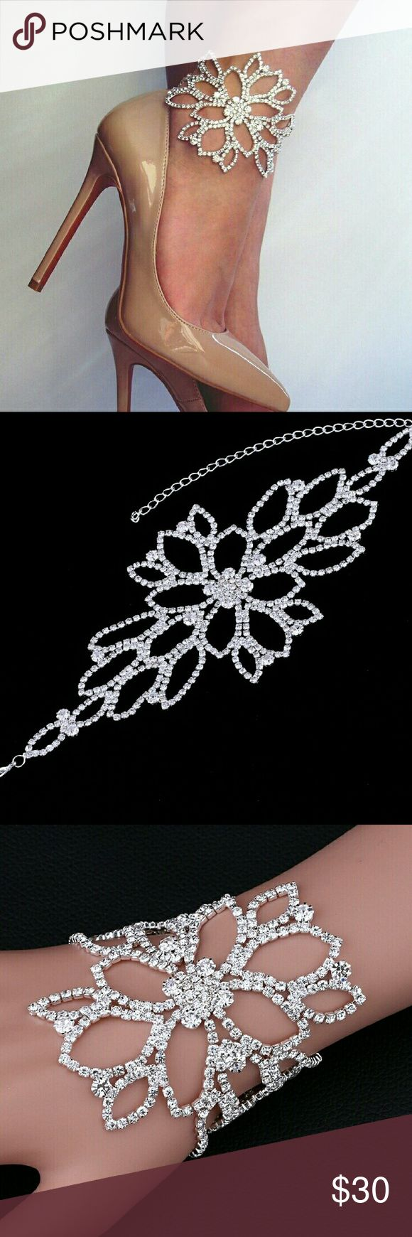 Crystal Bridal Anklet Brand new! Never taken out of package. Silver plated. Genuine crystal.  Offers welcome! Jewelry Bracelets