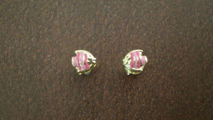 Cute Little 14 Carat Gold Pink Fish, Stud  Earrings by IoJewellery on Etsy