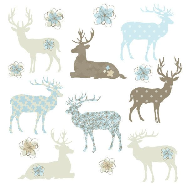 deer fawn silhouette shapes in brown and blue with flower digital clip art ideal for. Black Bedroom Furniture Sets. Home Design Ideas