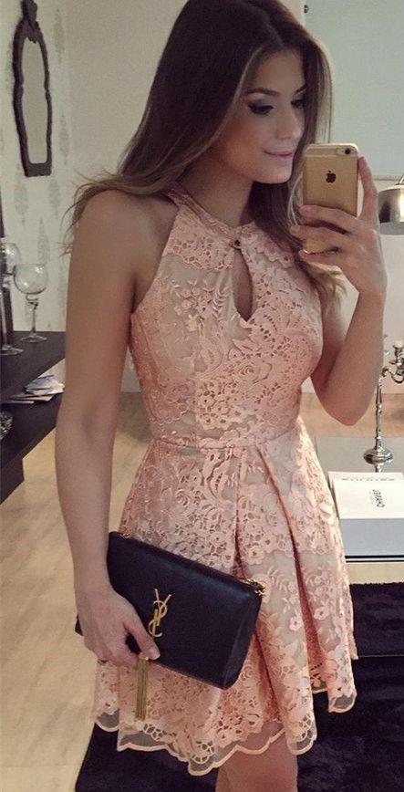 Elegant Pink Lace A-line Homecoming Dresses Keyhole Neckline Graduation Dress