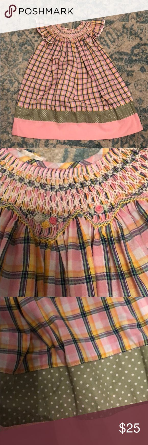 Girls smocked dress size 2T Rosalina 2T smocked dress. Green, pink, white, and yellow. rosalina Dresses Formal