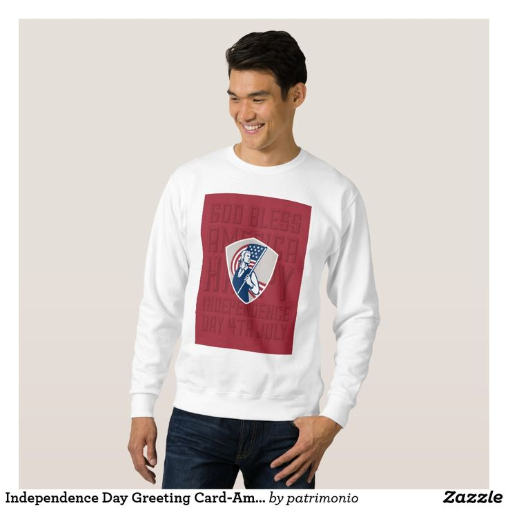 Independence Day Greeting Card-American Patriot Ho Sweatshirt. Men's sweatshirt designed with an illustration of an American patriot holding a stars and stripes flag set inside a shield done in retro style. #IndependenceDay #4thofJuly #totebag
