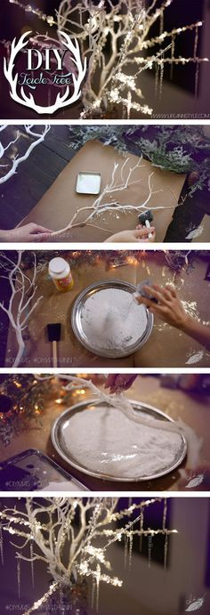 DIY Icicle Branches & Frosted Candle Holders | lifestyle #howto #make…