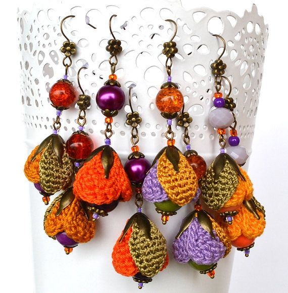 quirky autumn earrings autumn colors mismatched by Marmotescu