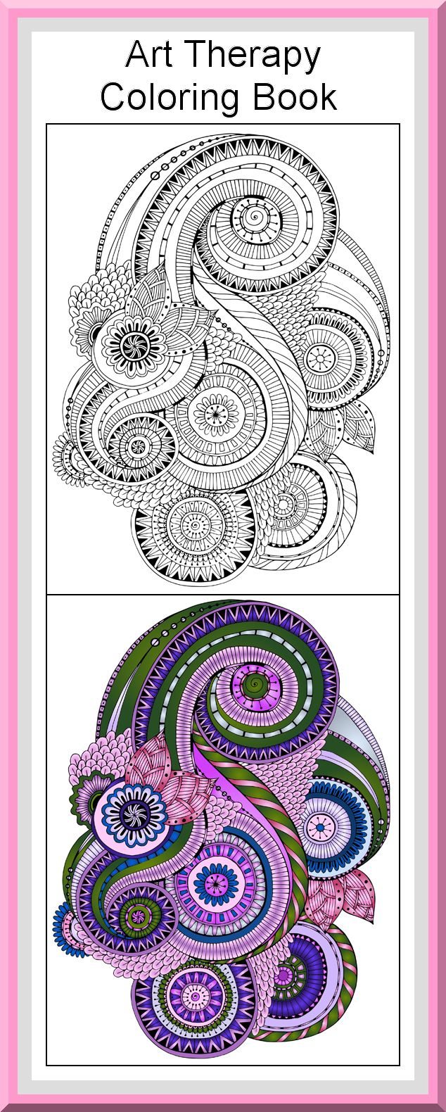 Art color book - Printable Art Therapy Coloring Pages 30 High Definition Coloring Pages Black Outlines With Colored Examples
