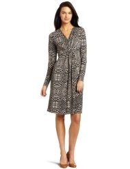 Kenneth Cole Womens Printed Drape Front Dress