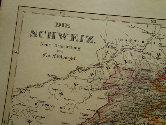 150 years old map of Switzerland  beautiful by VintageOldMaps
