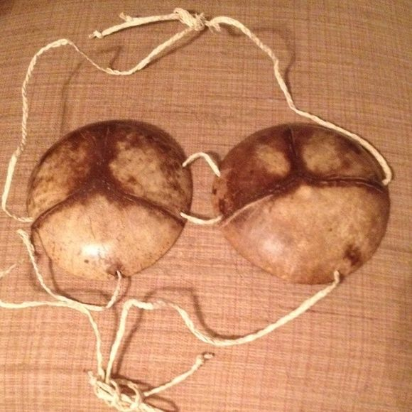 Coconut Bra Adjustable Coconut Bra made from real coconut! The strings are adjustable. Very cute!! Tops