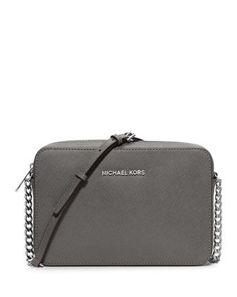 Jet Set Travel Saffiano Crossbody Bag, Steel Gray by MICHAEL Michael Kors at Neiman Marcus.