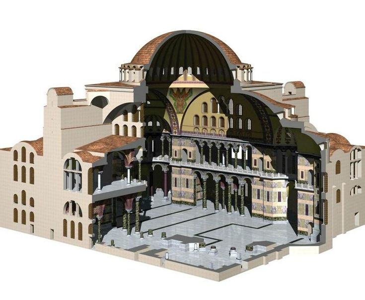 cutaway view of Hagia Sophia - The Church of the Holy Wisdom - Constantinople, Byzantine Empire - up until 1520, it was the largest cathedral in the world