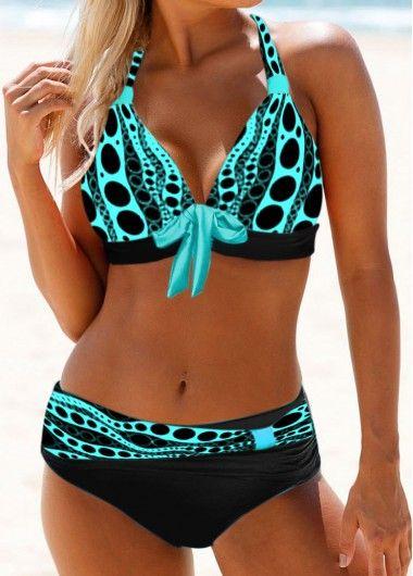 Bowknot Detail Dot Print Halter Neck Bikini Set | Rosewe.com – USD $ 27.22
