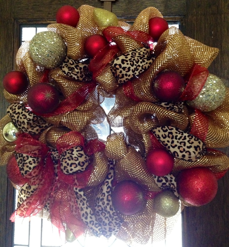 holiday leopard gold and red deco mesh wreath bethany 39 s trendy door more pinterest deco. Black Bedroom Furniture Sets. Home Design Ideas