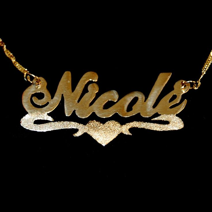 Gold name necklace with middle heart underline + sparkling cut ...