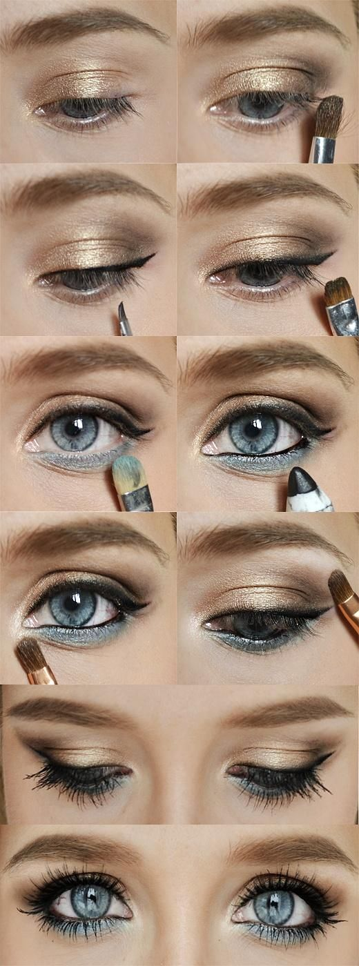 accentuate your eye color by adding a bit of matching eyeshadow under your bottom lashes! so pretty for blue and green eyed ladies