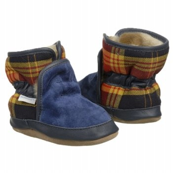 ROBeez Cozy Ankle Bootie Inf/To Shoes (Navy Plaid) - Kids' Shoes - 17.5 M