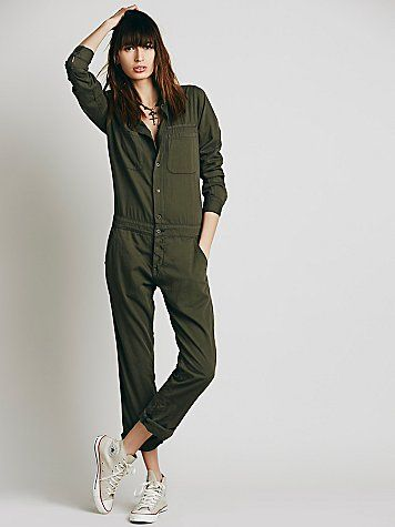 Mechanic Jumpsuit   American made utility inspired dark dyed chambray long sleeved jumpsuit.  Four-pocket style.  *By NSF