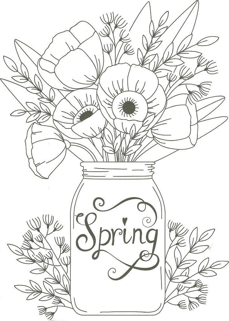 Spring Mason Jar Floral Coloring Page Coloringsheets Spring Mason