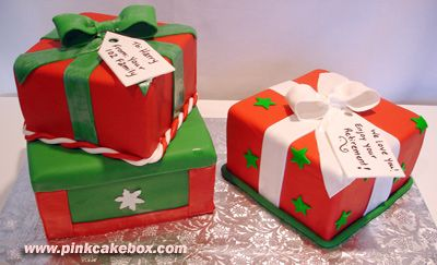 Christmas Present Cakes by Pink Cake Box in Denville, NJ.  More photos at http://blog.pinkcakebox.com/christmas-present-cake-2006-12-15.htm  #cakes