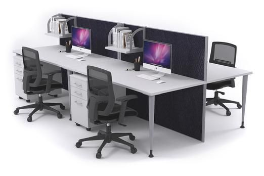 4 Person Workstation Desks With Acoustic Screens Silver Leg Horizon. This office workstation comfortably seats 4 people, each with their own private work area. The Horizon workstation has floor-based acoustic screens that have noise-cancelling qualities. The workstation has a silver powder-coated aluminium frame and a commercial grade laminate desktop that is fully customisable.