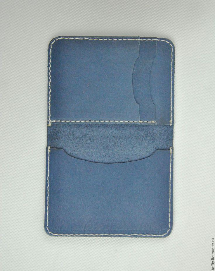 Купить Кардхолдер #2 из натуральной кожи (синий) - однотонный, синий, кардхолдер из кожи