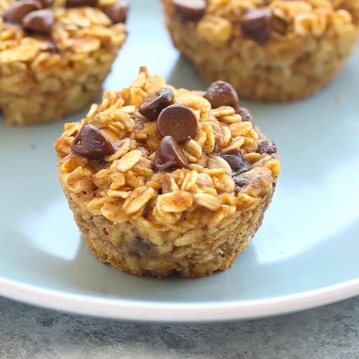 Pumpkin Chocolate Chip Baked Oatmeal Cups Recipe by Tasty