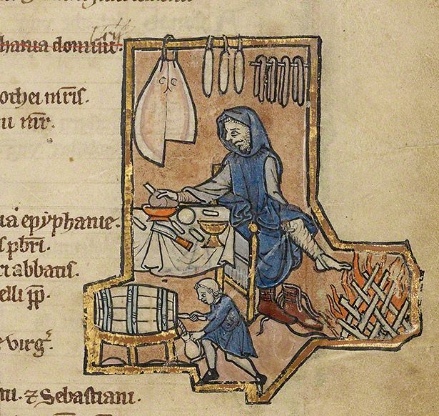 "A Belgian psalter of the mid 1200's with an illumination of a man at dinner warming his feet. This image clearly depicts a ""stirrup pant"" strap on his hosen. This apparantly is to keep his hose from climbing up his shin and keep them tucked down in his high topped shoes."