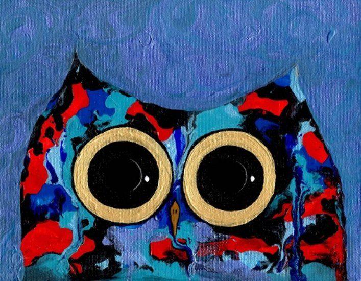 """Owl Eyes 17"" by artist Julie Sutherland - Buy Western Australian Art Online from Interactive Arts"
