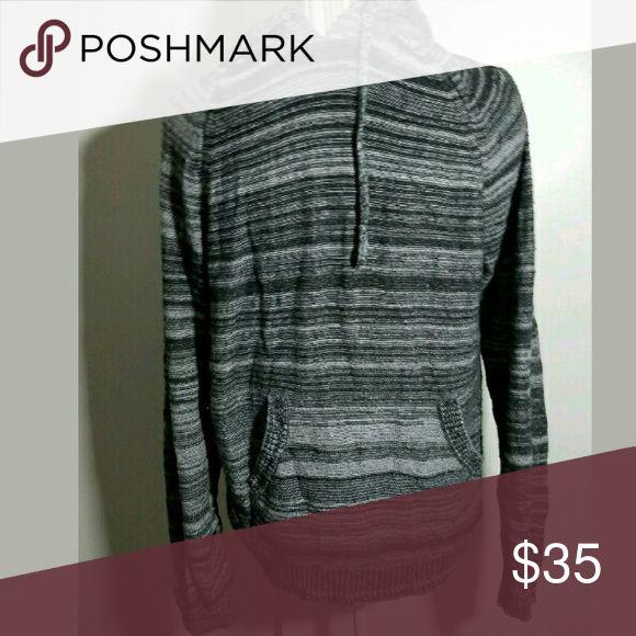 Men's Public Opinion Hooded Knit Sweater Men's Public Opinion Hooded Knit Sweater Gray Black Small Sweaters