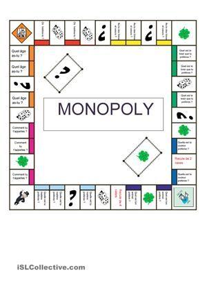 Monopoly pour permettre la présentation des élèves d'une forma ludique - Fiches FLE