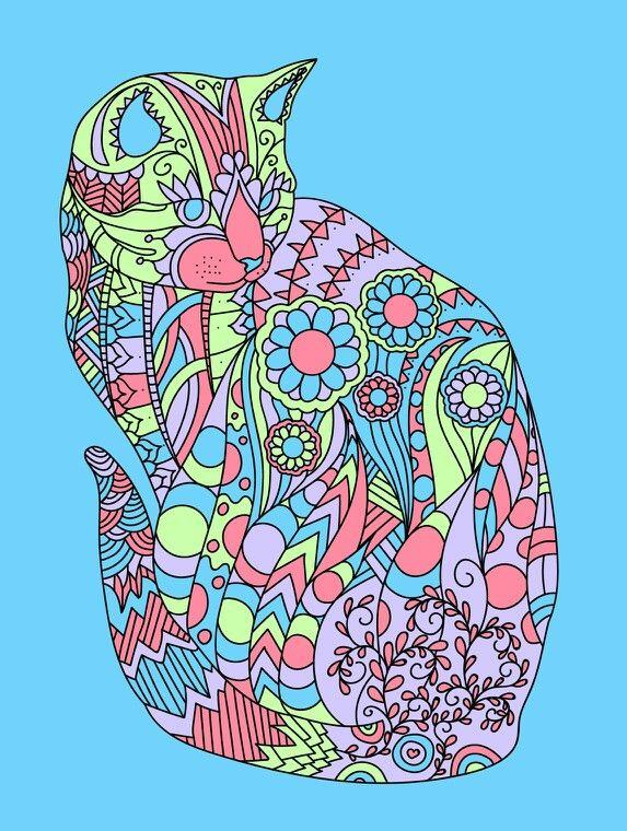 Cat Kot Antistress coloring book