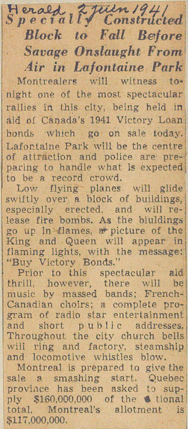 Coupure de presse datant du 2 juin 1941. SOURCE: Archives de la Ville de Montréal;  code: VM6-S10-D1901-38-A