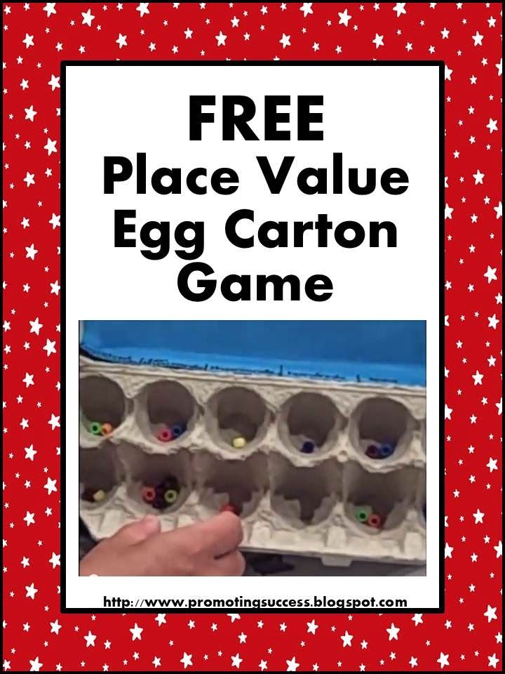 Here is a great way to recycle some egg cartons.  Your students will love this game!  This game works well for place values up to hundred thousand; however, you could tape over some of the slot to modify for lower grade levels.