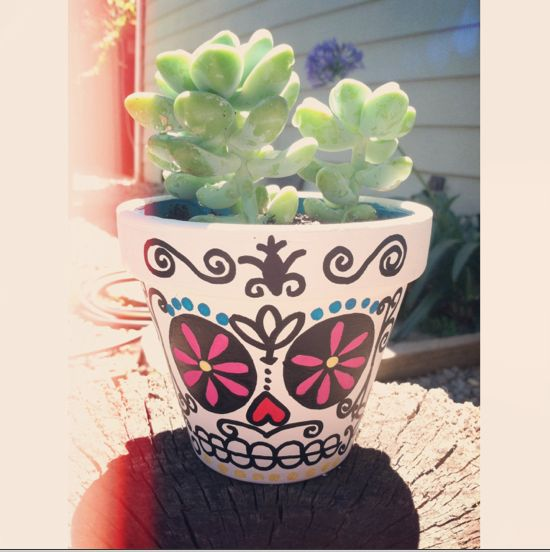 Sugar Skull Pot. #diy #sugarskull | Garden and flowers ...