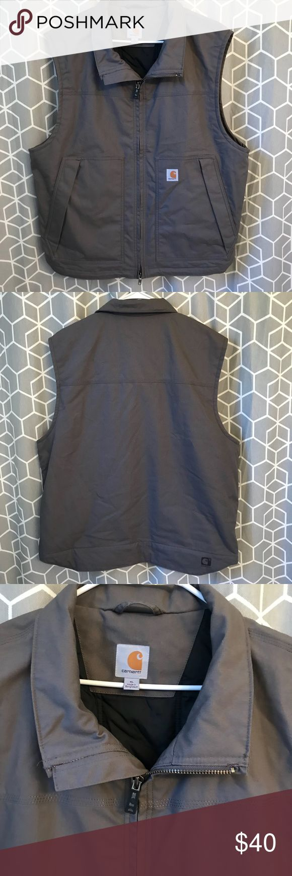 Carhartt men's thinsulate gray full zip vest nwot CARHARTT  MEN'S VEST  GRAY  Size XL   RN14806 ~ 101494 022  New, without tags   Men's water repellent, 3M Thinsulate Insulated Vest  Rain Defender durable water-repellent finish.  She'll 60% Cotton 40% Polyester  Nylon lining quilted to 80g 3M Thinsulate Insulation.  neck collar with zip-through front.   Two large lower-front pockets with zipper closures and storm flaps.  1 inside zipper pocket and 1 pocket on other side.   Triple stitched…