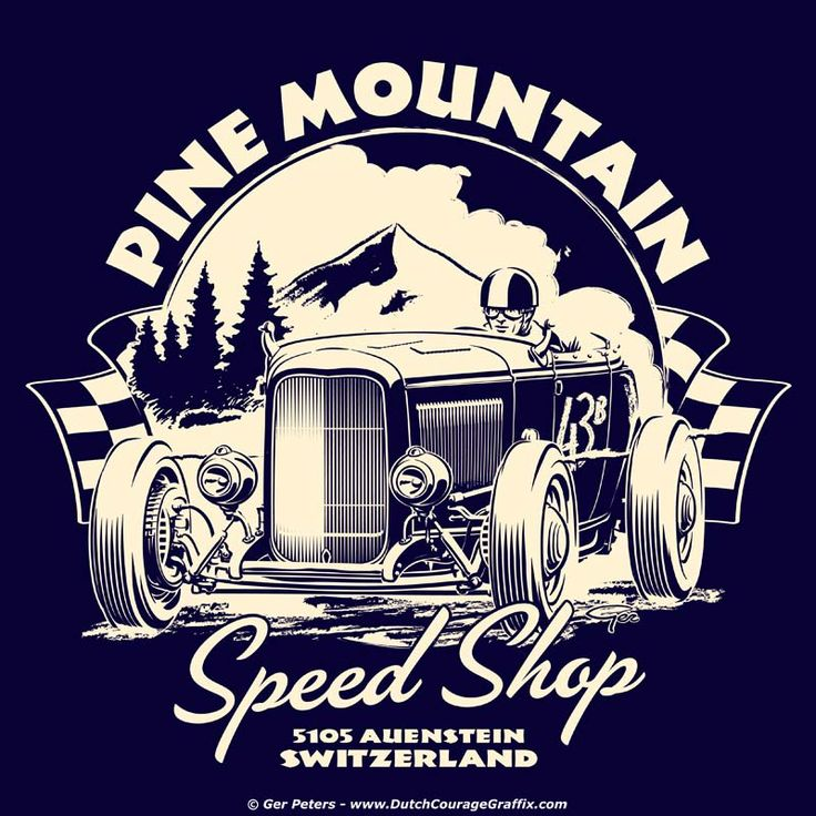 """Pine Mountain Speed Shop"" T-shirt art #hotrod #hot #rod #Ford #Deuce #roadster #vintage #artwork #Tshirt #design"