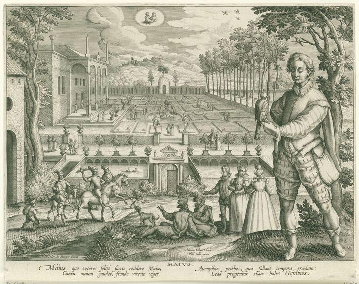 Adriaen Collaert | Mei, Adriaen Collaert, Cornelis Kiliaan, Philips Galle, 1586 - 1618 | Op de voorgrond rechts staat een jongeman met een jachtvalk op zijn hand. Op de achtergrond een architectonische tuin met wandelende paartjes, musicerende jongeren en een jachtgezelschap. Middenboven in de wolken het astrologisch teken van de Tweeling. De prent heeft een Latijns onderschrift en is deel van een twaalfdelige serie over de maanden van het jaar.