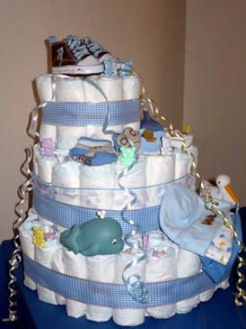 Blue nappy cake