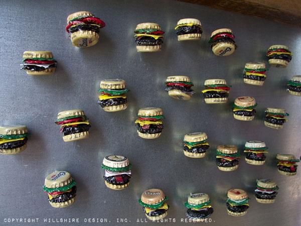 burger bottle cap magnets