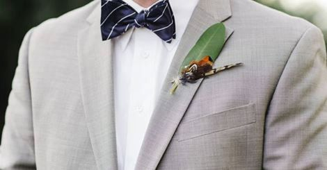 THE KINGSBURY COLLECTION.Tie Fly Boutonniere Fishing Pheasant Feather ButtonHole Navy Grey Autumn Mountain Carolina Wedding Lodge Pin Groom