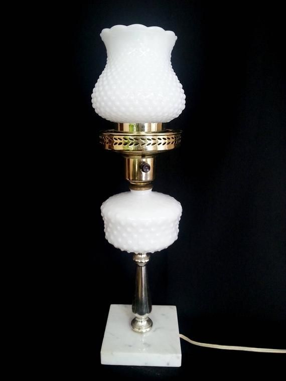 Vintage Mid Century Tall Electric Lamp Hobnail Milk Glass Fine Marble Base Ruffled Scalloped Hobnail Milk Glas Hobnail Milk Glass Milk Glass Lamp Electric Lamp