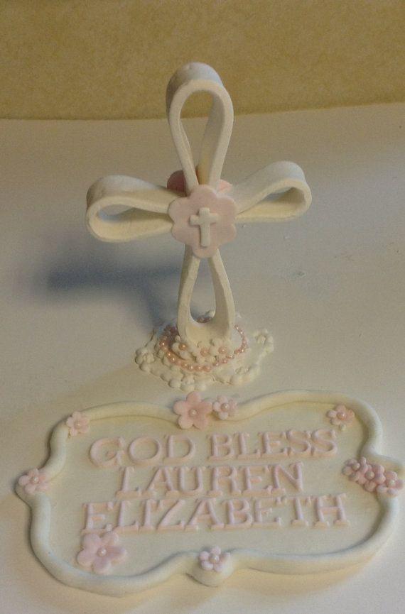 CHRISTENING Communion Cake Topper Fondant CAKE TOPPER Baby ...