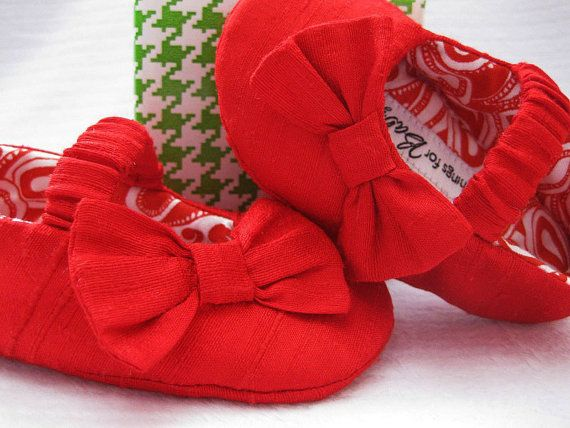 Red baby shoes girls Christmas shoes Shannon by allthingsforbaby, $30.00