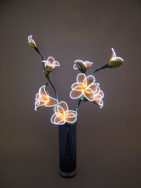 Electroluminescent wire - maybe combine this with flowers made from plastic bottles.